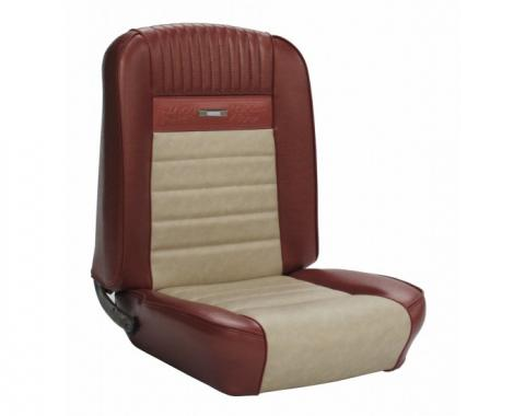 TMI Mustang Deluxe Pony Upholstery, Front Buckets & Rear Bench, Convertible, 1966 | Turquoise/White