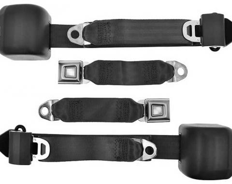 Ford Mustang Three-point Seat Belt System, Black, 1979-1989
