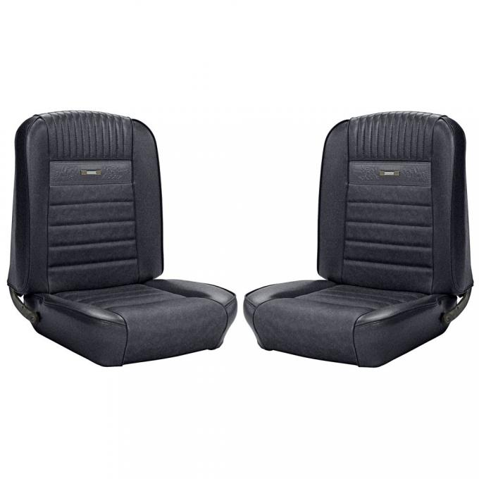 TMI 1965-1966 Mustang Coupe, Deluxe Pony Upholstery, Full Set with Bucket Seats | Black