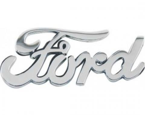 Ford Script Emblem, Chrome Plated, Peel & Stick Type, 3 Long X 1/2 High