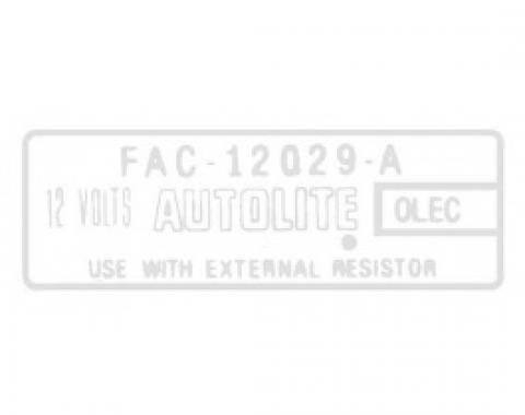 Ford Thunderbird Ignition Coil Decal, Without Transistorized Ignition, FAC, 1963-66