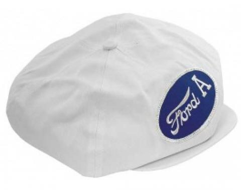 Driving Cap, Gatsby Style, White, With Ford A Patch