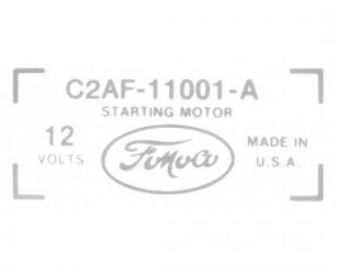 Ford Thunderbird Starter Decal, C2AF-11001-A, 1962-65