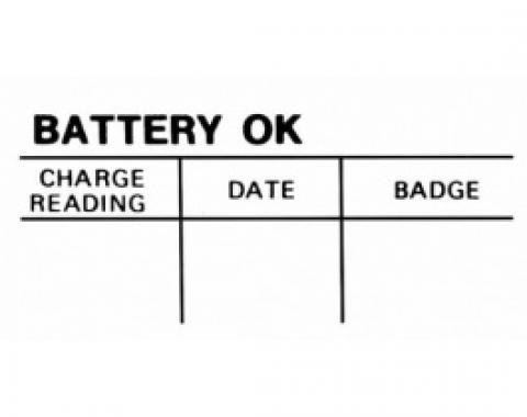 Ford Thunderbird Battery Decal, Test OK, 1964-66
