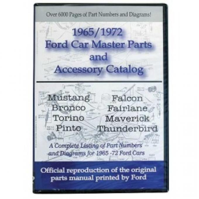1965-72 Ford Car Parts & Accessories On CD, Includes Text & Illustrations, For Windows Operating Systems Only