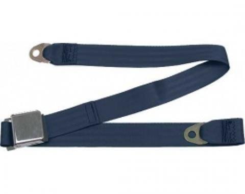 "Seatbelt Solutions 1949-1979 Ford | Mercury Lap Belt, 60"" with Chrome Lift Latch 1800604004 | Dark Blue"
