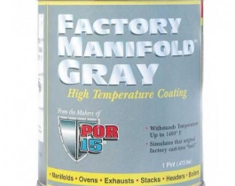 POR-Brand Hi-Temp Paint, Factory Manifold Gray, Up To 1400?, 1 Pint