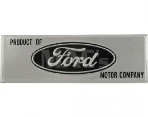 Ford Thunderbird Door Scuff Plate Emblem, Metal With Adhesive Backing, Black Background, 1963-66