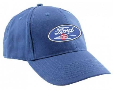 Baseball Cap, Blue, Ford Script and V8 Emblem