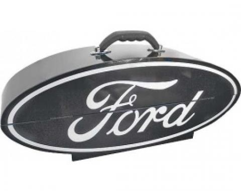 GoBox, Steel, Powder-Coated Black Finish With A White Ford Logo, 26 Wide x 10 High x 7 Deep