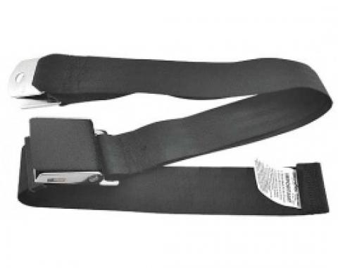 Ford Thunderbird Seat Belt, 60 Inches Long, Black With Black Wrinkle Finish Buckle