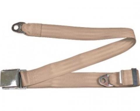 "Seatbelt Solutions 1949-1979 Ford | Mercury, Lap Belt, 74"" with Chrome Lift Latch 1800603009 | Desert Tan"