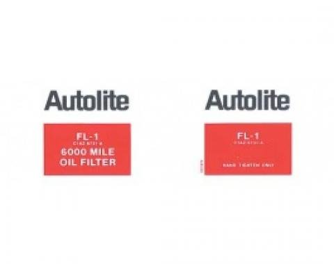 Ford Thunderbird Oil Filter Decal, Autolite FL-1, White Background, 1961-70