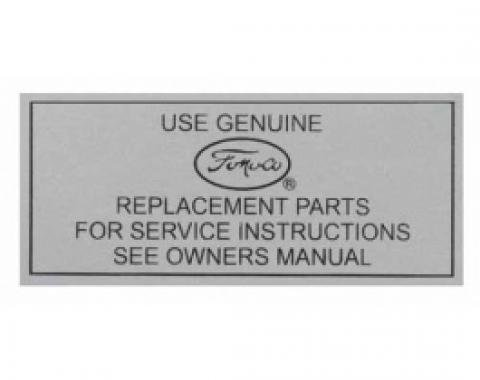 Ford Thunderbird Air Cleaner Decal, Service Instructions, 1957-63