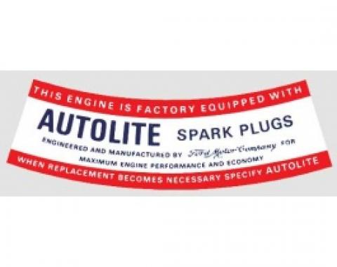 Ford Thunderbird Air Cleaner Decal, Autolite Spark Plug, 1963-64