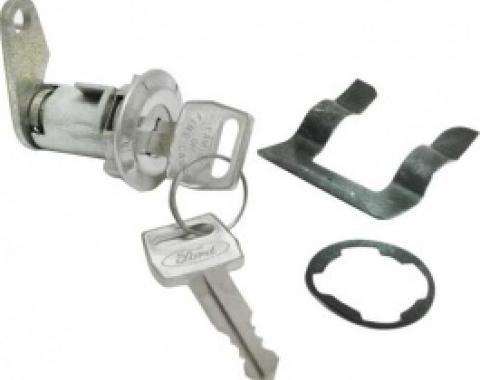 Ford Thunderbird Door Lock Cylinder & 2 Ford Logo Keys, 1965-66