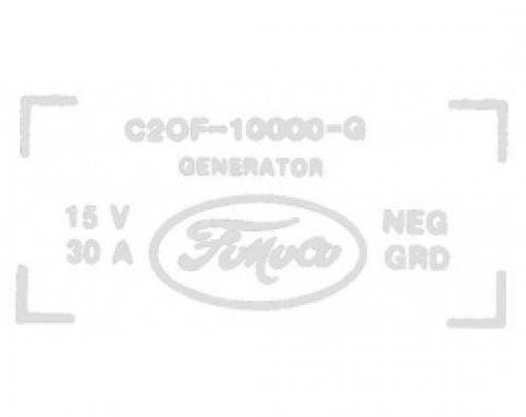 Ford Thunderbird 30 Amp Generator Decal, C2OF-10000-G, 1962