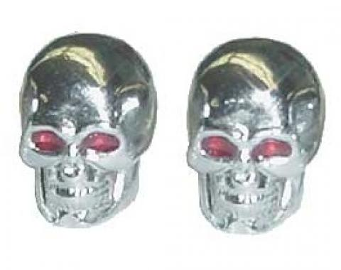 Valve Stem Caps, Chrome Skulls With Glowing Red Eyes, 1 Pair, 1955-79