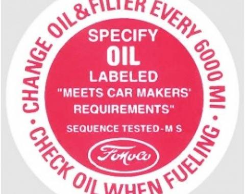 Ford Thunderbird Oil Filler Cap Decal, 1961-66