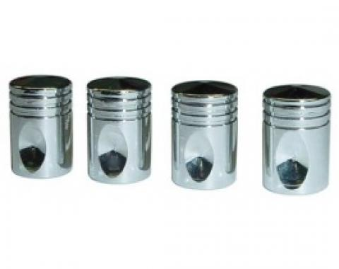 Valve Stem Caps, Set Of 4, Chrome Pistons, 1955-79