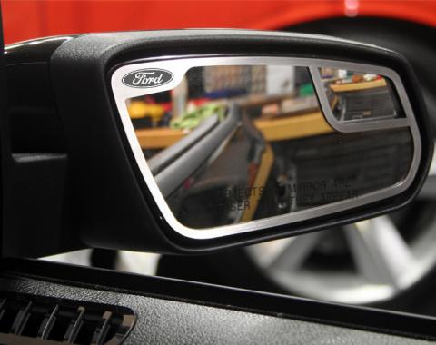 """American Car Craft Ford Mustang 2011-2012  Mirror Trim Satin """"Ford Oval"""" Side View 2 pc 272017"""