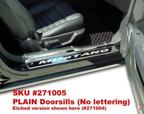 American Car Craft Ford Mustang 2005-2009  Doorsills Polished w/ Satin Stainless Tops 4pc PLAIN 271005