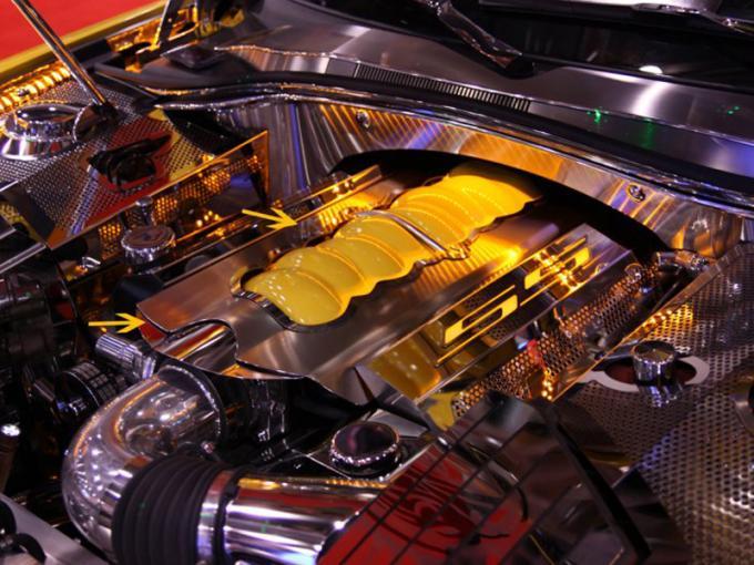 2010-2015 Camaro - Plenum Cover with LEDIllumination - Brushed/Polished Stainless Steel 103034