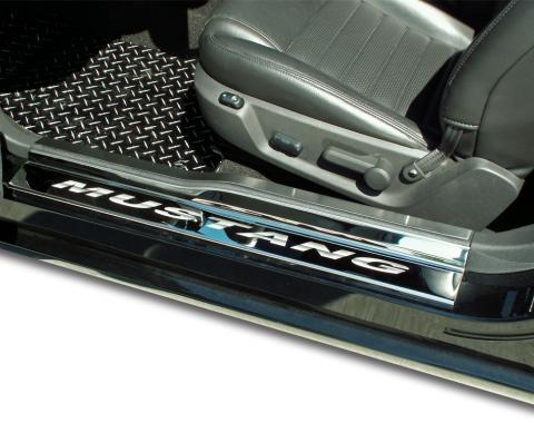 American Car Craft Ford Mustang 2005-2009  Doorsills Polished w/ Satin Stainless Tops 4pc ETCHED MUSTANG 271004