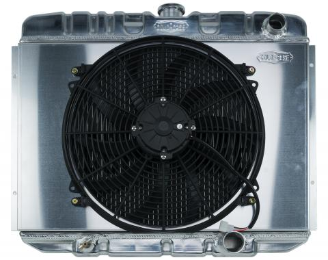 Cold Case Radiators 67-70 Mustang SB 24 Inch Aluminum Performance Radiator And 16 Inch Fan Kit MT FOM587K