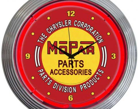 Neonetics Neon Clocks, Mopar Red Vintage Neon Clock