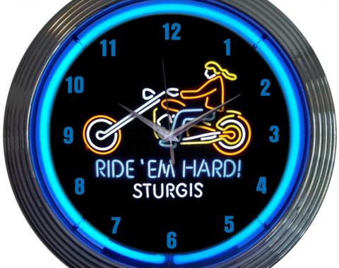 Neonetics Neon Clocks, Motorcycle Ride Em Hard Sturgis Neon Clock