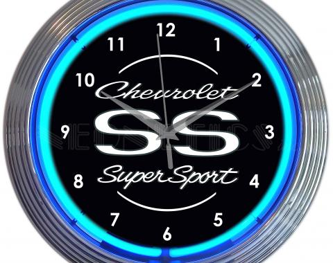 Neonetics Neon Clocks, Chevrolet Ss Super Sport Blue Neon Clock