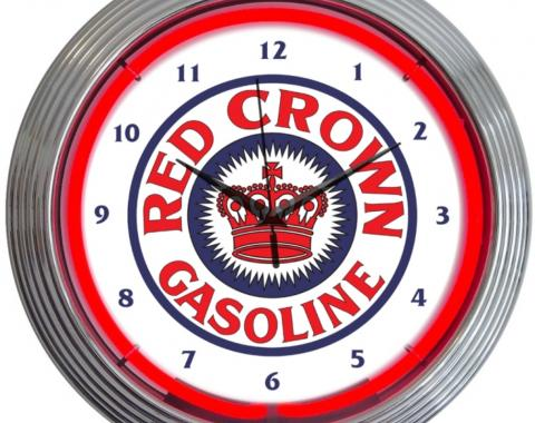 Neonetics Neon Clocks, Red Crown Gasoline Neon Clock