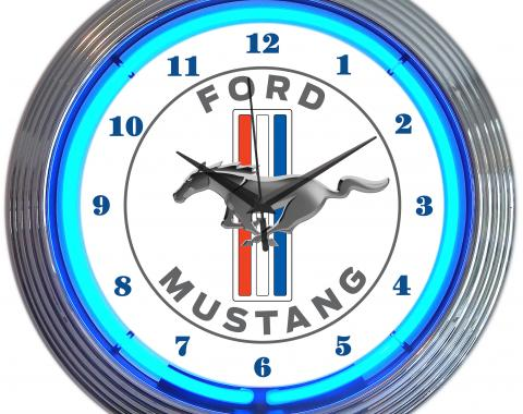 Neonetics Neon Clocks, Ford Mustang Blue Neon Clock