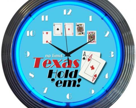 Neonetics Neon Clocks, Poker Texas Hold 'Em Neon Clock