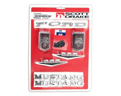 Scott Drake 1965 Ford Mustang Emblem Kit GT (All bodystyles 8 Cylinder) C5ZZ-65402828GT