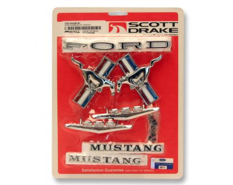 Scott Drake 1965-1966 Ford Mustang 65-66 Coupe and Convertible Emblem Kit (8 Cylinder) C5ZZ-6540282-8K
