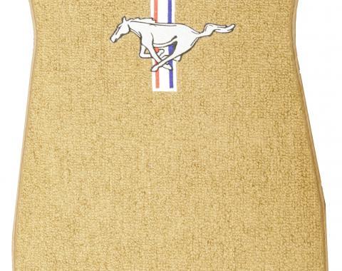 Scott Drake 1964-1973 Ford Mustang Embroidered Carpet Floor Mats (Saddle) ACC-FM-EMB-SA