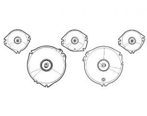 Scott Drake 1967-1968 Ford Mustang Instrument Lens Set (with Tach) C7ZZ-10887-A/D