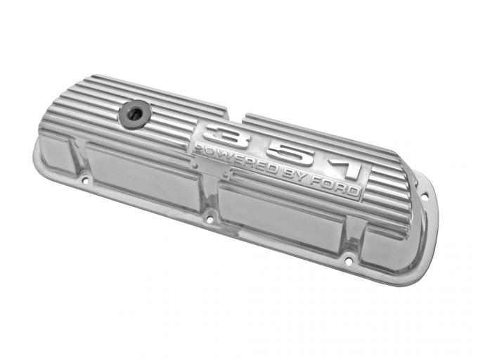 Scott Drake 1969-1973 Ford Mustang 351 Polished Aluminum Valve Covers (Pair) 6A582-351P
