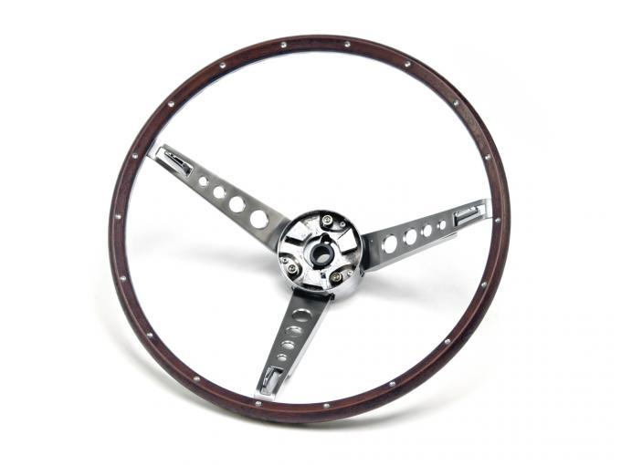 Scott Drake 1967 Ford Mustang Deluxe Steering Wheel Assembly (Woodgrain) C7OZ-3600-NK