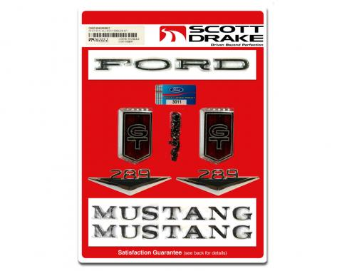 Scott Drake 1966 Ford Mustang Emblem Kit GT (All Bodystyles 8 Cylinder) C6ZZ-65402828GT