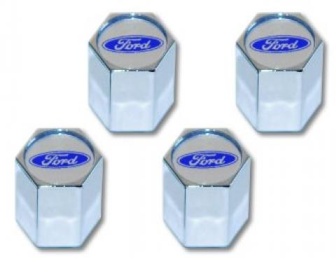 Valve Stem Caps Chrome, Ford