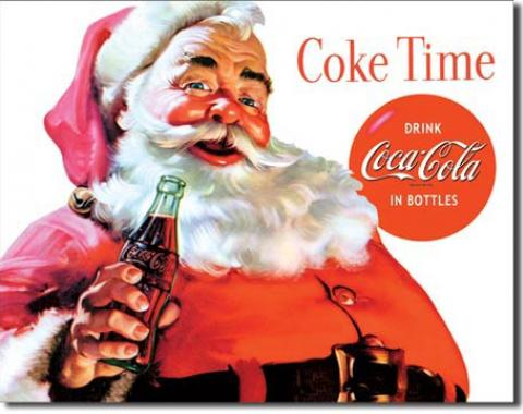 Tin Sign, COKE Santa - COKE Time