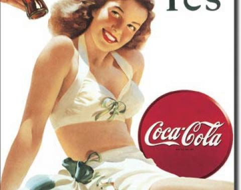 Tin Sign, COKE - White Bathing Suit