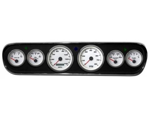 Mustang - New Vintage USA Performance Series DIY Gauge Panel Kit - 6 Gauge Package, White Dial, 1964-1966 - Programmable Speedometer MPH