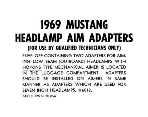 Ford Mustang Headlight Aiming Adapters Instruction Card