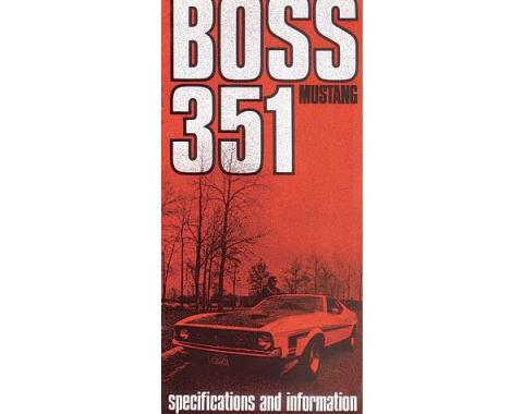 Mustang Boss 351 Owner's Manual Supplement - 6 Pages