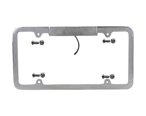 Custom License Plate Frame - Brushed Aluminum - With Integral 12 Volt Light