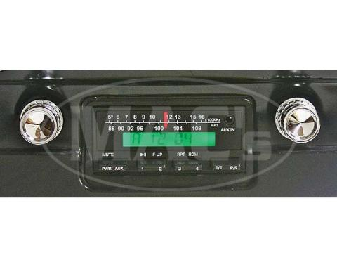 Ken Harrison In-Dash Stereo System, 200W, 1964-1966 Mustang, Black Nose